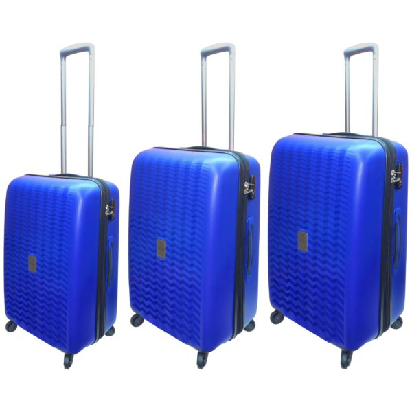 Highflyer WAVES Unbreakable Hard Trolley Luggage Bag 3pc Set TH-WAVES-3PC - Blue
