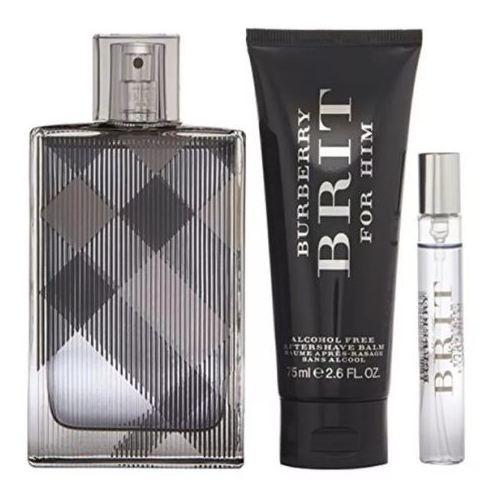 Burberry Brit Gift Set For Men (Burberry Brit 100ml EDT + After Shave Balm 100ml + Vap De Sac 7.5ml)