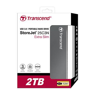 Transcend StoreJet Extra Slim Portable Hard Drive 2TB Aluminium TS2TSJ25C3N