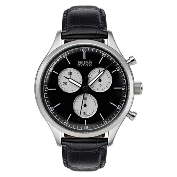 Hugo Boss Companion Watch For Men with Black Leather Strap