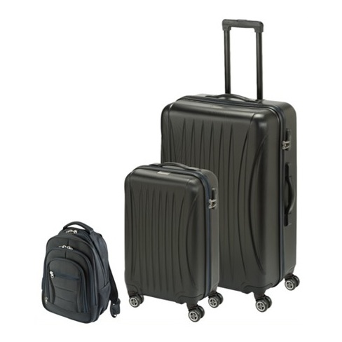 Princess Travellers LASVEGAS Luggage Trolley Bag With Built in Scale Black Set Of 3