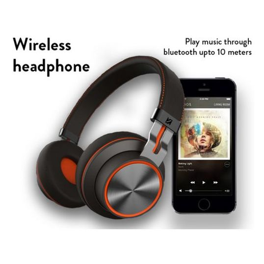 Nushh Over The Ear Bluetooth Headset Black NHPOTBL100