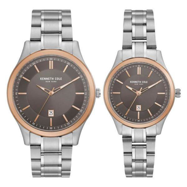 Kenneth Cole Gift Sets Watch For Unisex with Silver Stainless Steel Bracelet