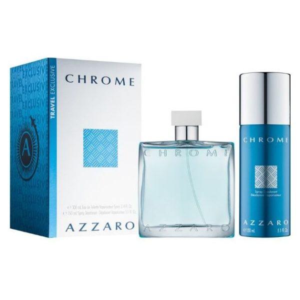 Azzaro Chrome Travel Gift Set For Men (Azzaro Chrome 100ml EDT + Deodorant Spray 150 ml)
