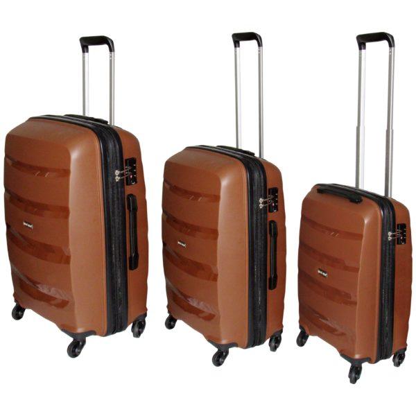 Highflyer Bella Trolley Luggage Bag Brown 3pc Set THBELLA3PC