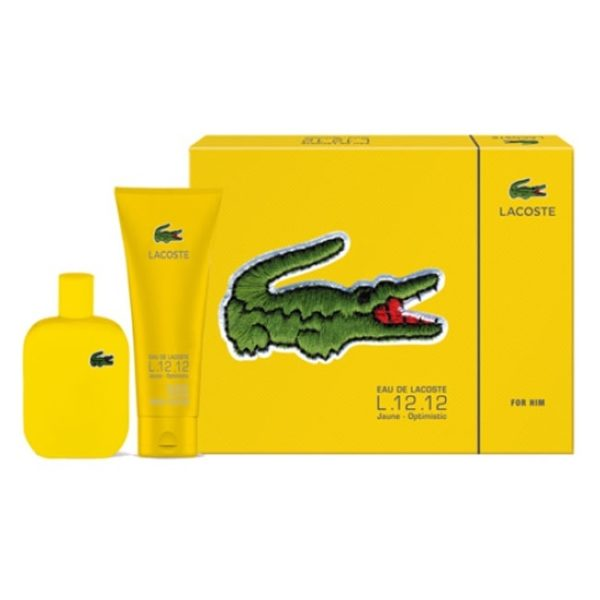 Lacoste L.12.12 Jaune Optimistic Perfume Gift Set For Men (Lacoste L.12.12 Jaune Optimistic Perfume 100 ml EDT + Shower Gel 150ml)