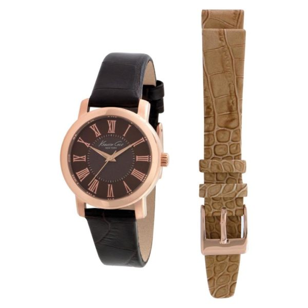 Kenneth Cole New York Watch For Women Box Set with Brown Calfskin Strap