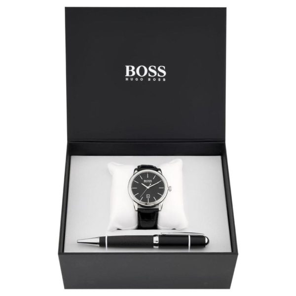 Hugo Boss Gift Set Pen Watch For Men with Black Leather Strap