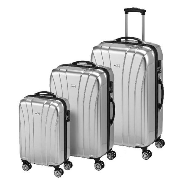 Princess Travellers JAMAICA Luggage Trolley Bag Silver Set Of 3