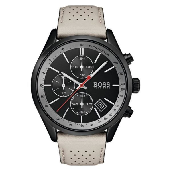Hugo Boss Grand Watch For Men with Beige Leather Strap