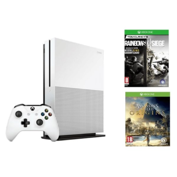 Microsoft Xbox One S Console 1TB White With Assassins Creed Origins & Tom Clancys Rainbow Six Siege DLC Game + 1 Month Game Pass DLC