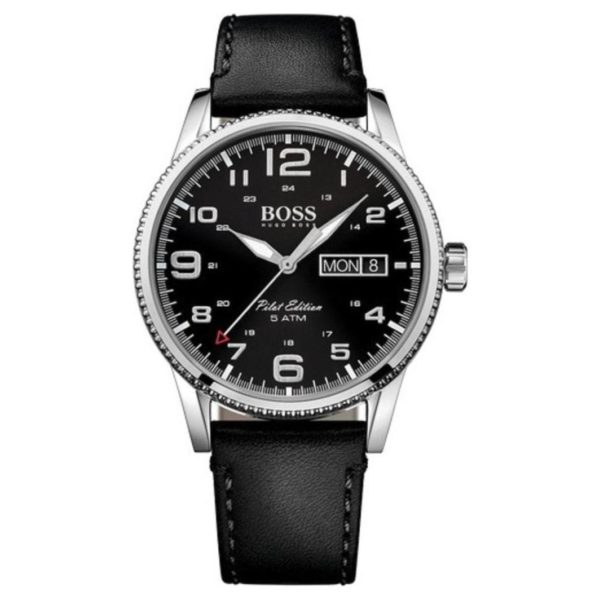 Hugo Boss Pilot Vintage Watch For Men with Black Leather Strap