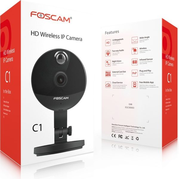 Foscam FIC1 Indoor HD 720P Wireless Plug & Play IP Camera Black W/ Night Vision