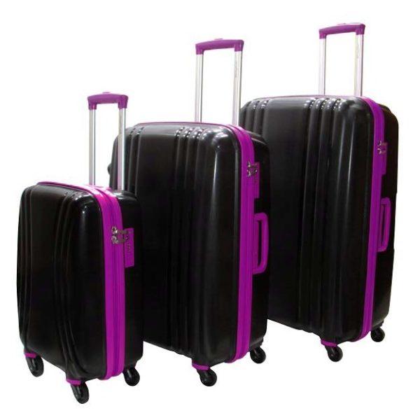 Highflyer THKELVIN3PC Kelvin Trolley Luggage Bag Black/Purple 3pc Set