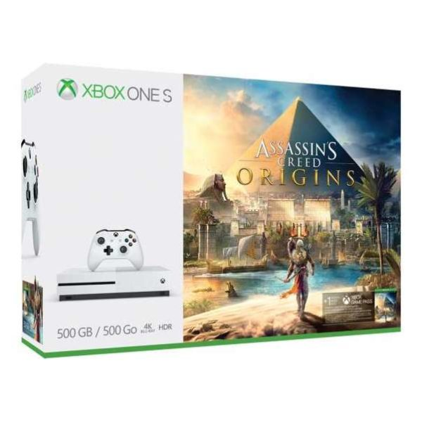 Microsoft Xbox One S Console 500GB White With Assassins Creed Origins DLC Game + 1 Month Game Pass DLC