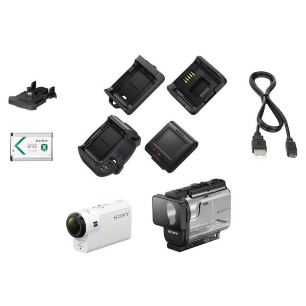 Sony HDRAS300R 4K Action Camera White With Live View Remote + Shooting Grip + Roll Bar Mount