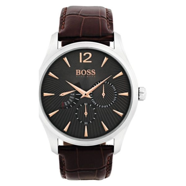 Hugo Boss Commander Watch For Men with Brown Leather Strap