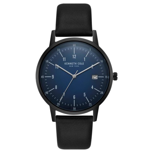 Kenneth Cole Slim Watch For Men with Black Genuine Leather Strap