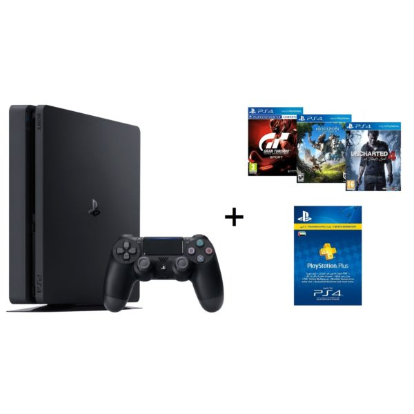 Sony PS4 Slim Gaming Console 500GB Jet Black + Gran Turismo The Real Driving Simulator Sport Game + Uncharted 4 A Thiefs End Game + Horizon Zero Dawn Complete Edition Game + 3 Months Playstation Plus Members