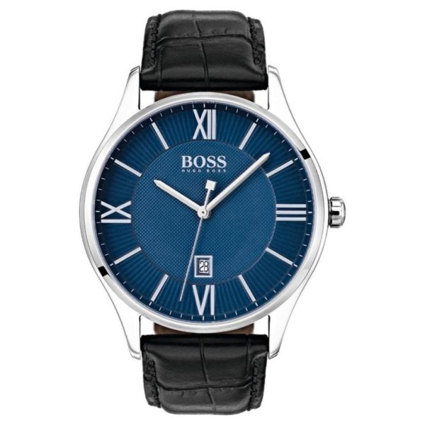 Hugo Boss Governor Watch For Men with Black Leather Strap