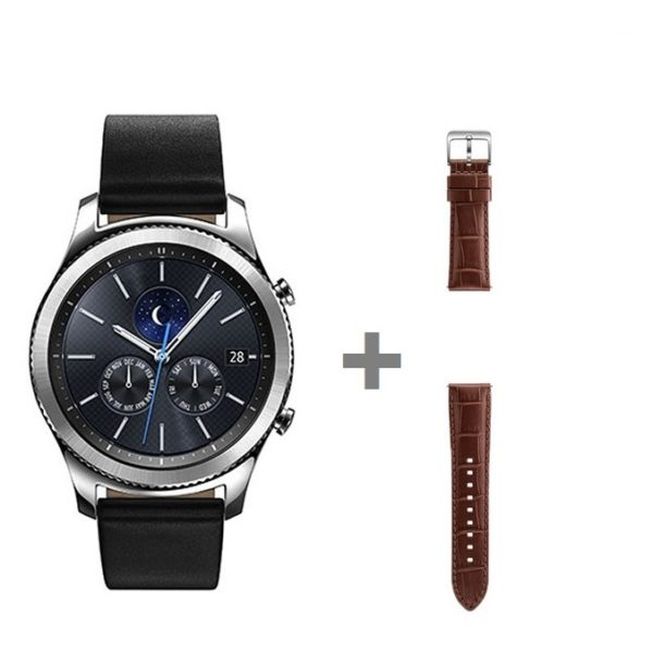 Samsung SM-R770 Gear S3 Universal Smartwatch Silver + ETYSA76MDEGAE Alligator Grain Leather Band Brown For Gear S3