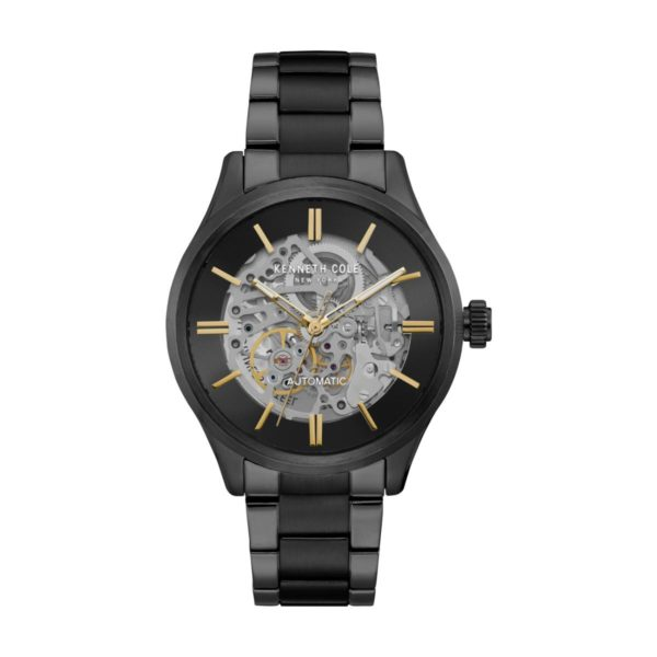 Kenneth Cole Automatic Watch For Men with Black Stainless Steel Bracelet