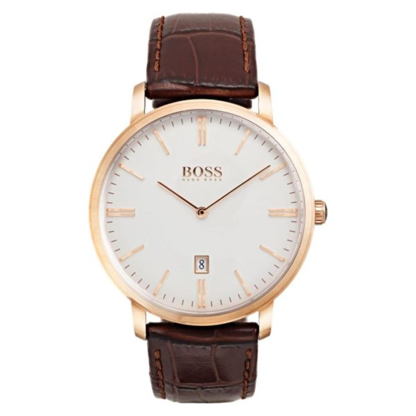 Hugo Boss Tradition Watch For Men with Brown Leather Strap