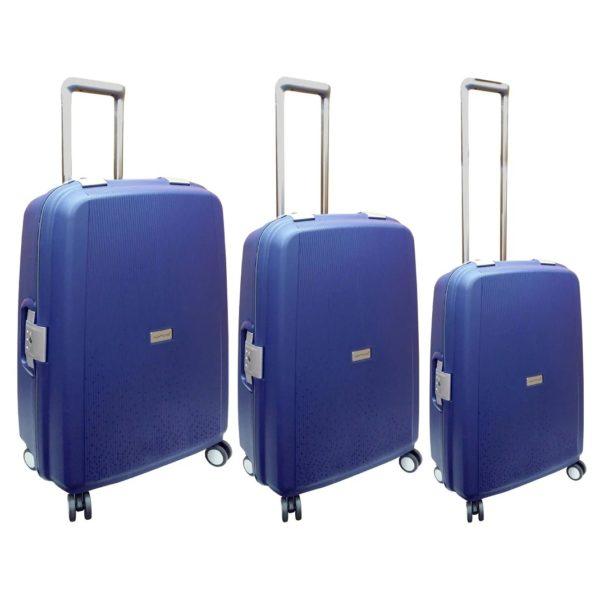 Highflyer Rock Trolley Luggage Bag Blue 3pc Set - THROCK3PC