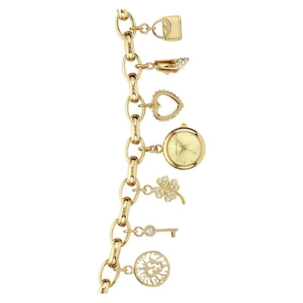 Anne Klein Gold Charm Bracelet Watch For Women