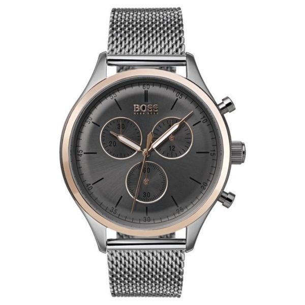 Hugo Boss Companion Watch For Men with Silver Mesh Bracelet