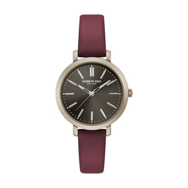 Kenneth Cole Classic Watch For Women with Dark Red Genuine Leather Strap