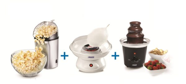 Princess PRN292994 Chocolate Fountain+PRN2993 Cotton Candy+PRN292985 Popcorn Maker