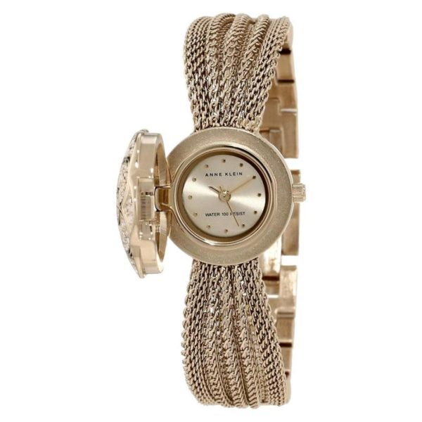 Anne Klein Swarovski Crystal Accented Watch For Women with Gold-Tone Covered Dial Mesh Bracelet