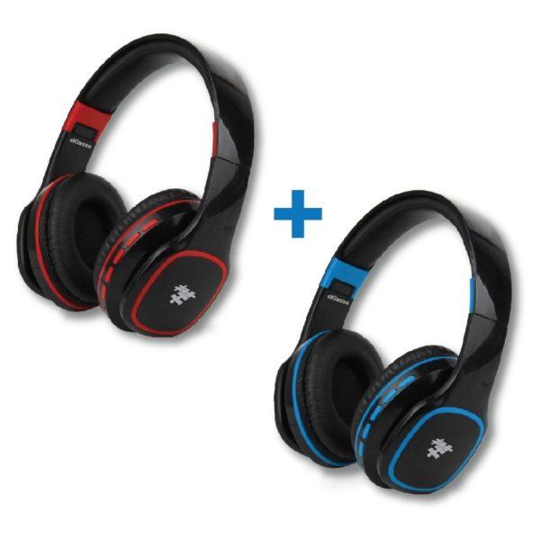 Eklasse EKBTHP11BSN Bluetooth Headphone Black/Red + EKBTHP11BSN Bluetooth Headphone Black/Blue