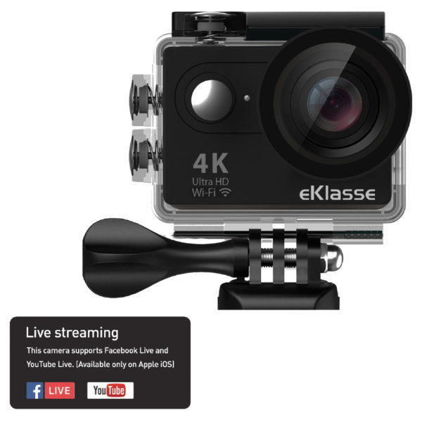Eklasse 4k Action Camera With Wifi Live Streaming Black Ekac02eg