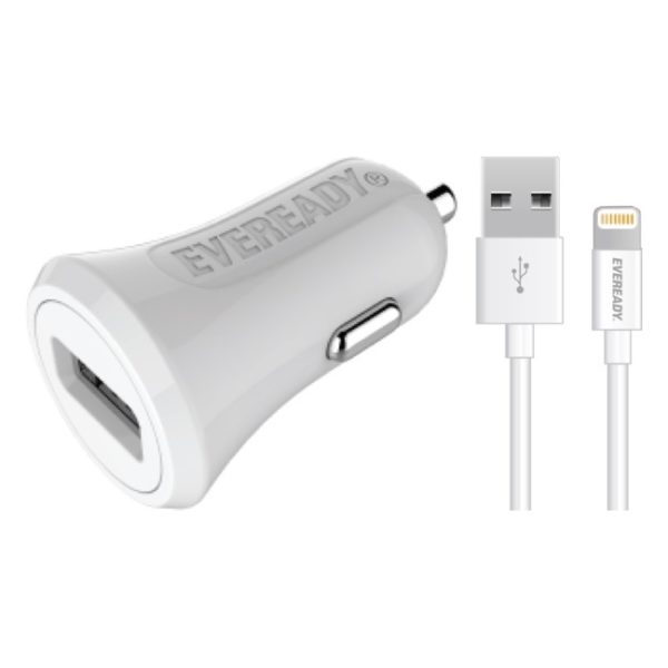 Eveready Car Charger With Lightning Cable 1m White - 1BELI3