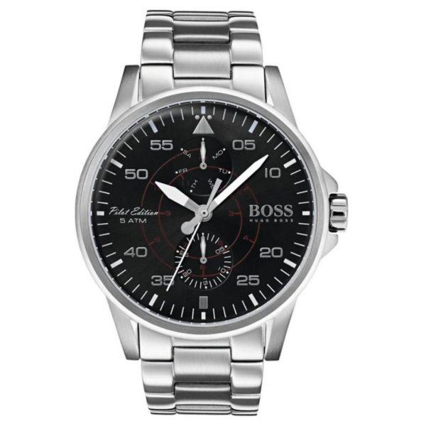 Hugo Boss Aviator Watch For Men with Silver Bracelet
