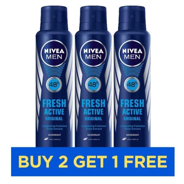 Nivea Fresh Active Deodorants Men 150ml - Buy 2 Get 1 Free
