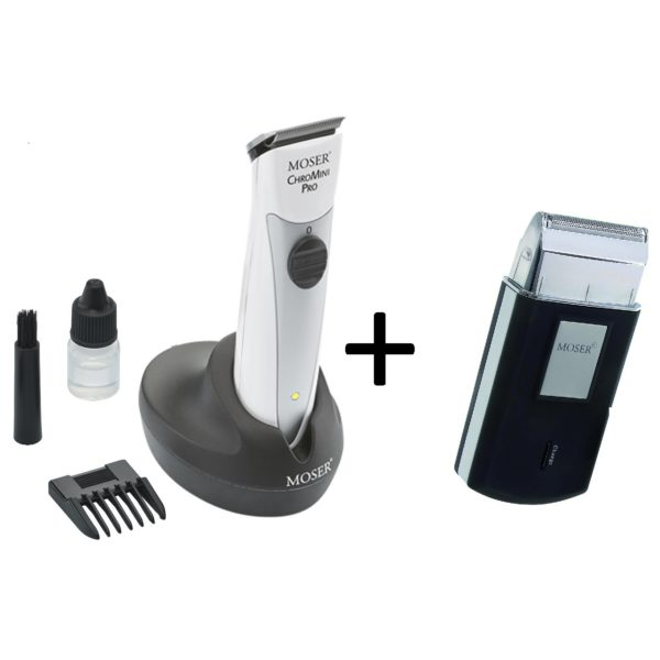 Moser 15910162 Professional Cordless Trimmer + 36150052 Rechargeable Travel Shaver