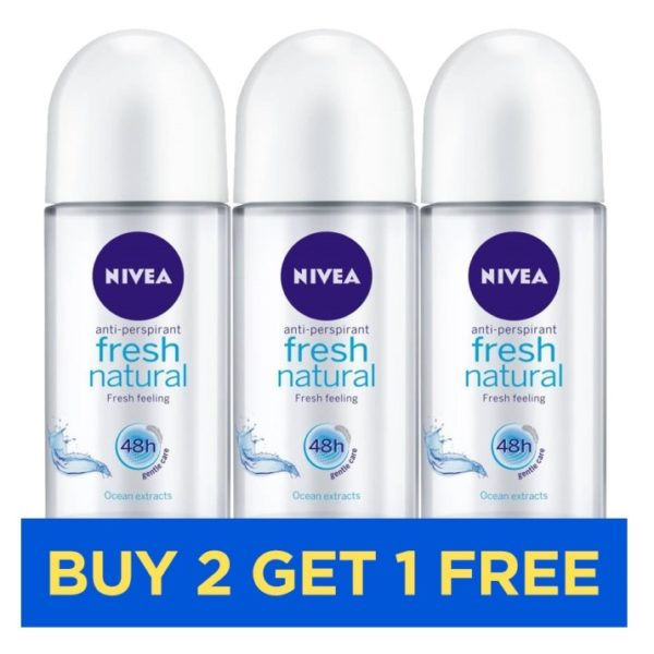 Nivea Fresh Natural Roll On Women 50ml - Buy 2 Get 1 Free