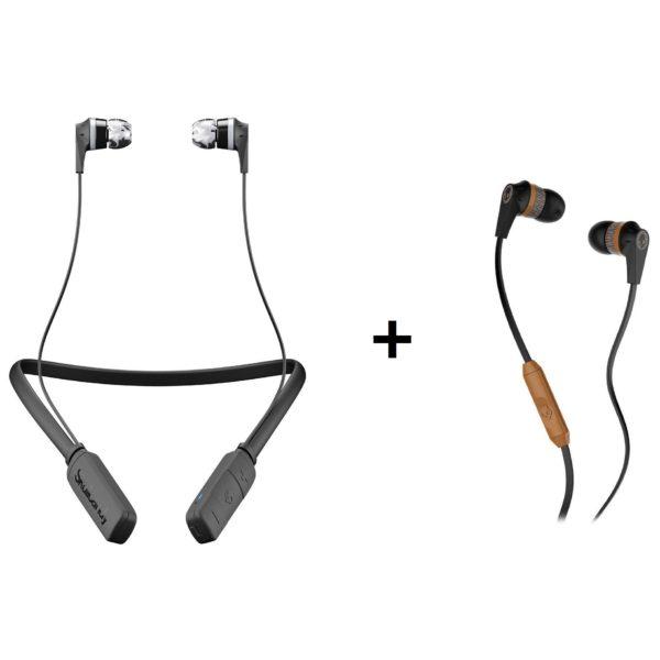 Skullcandy S2IKWJ509 Inkd Bluetooth Wireless Earbud With Mic Black/Gray + S2IKJY Inkd 2.0 In Ear Wired Headphone'