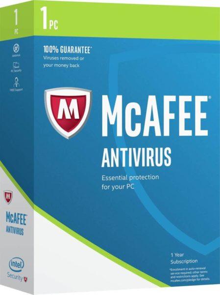 McAfee Antivirus 2017 Software 1User