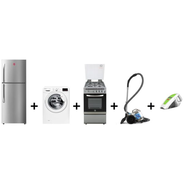 Hoover Top Mount Refrigerator 230 Litres HTR330LS + Front Load Washer HL1071D1 + FGC5000S Gas Cooker + Canister Vacuum Cleaner HC85P4ME + Hand Vacuum Cleaner HQ86GABME