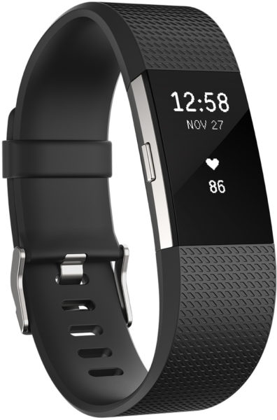 Fitbit Charge 2 Wristband Laryon Black Silver Small - FB407SBKSEU