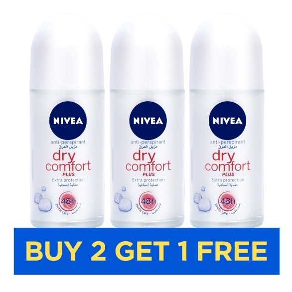 Nivea Dry Comfort Roll On Women 50ml - Buy 2 Get 1 Free