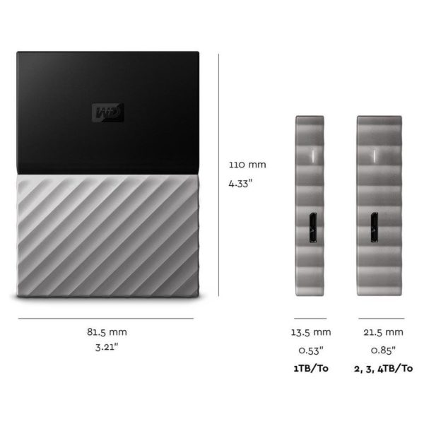 Western Digital My Passport Ultra Metal Portable External Hard Drive USB 3.0 1TB Black/Grey WDBTLG0010BGYWESN