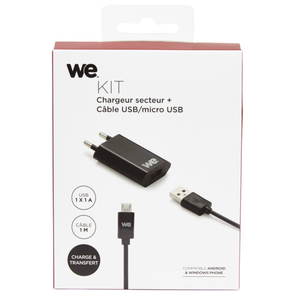 We Home Charger With Twisted Micro USB Cable 1.5 m - Black