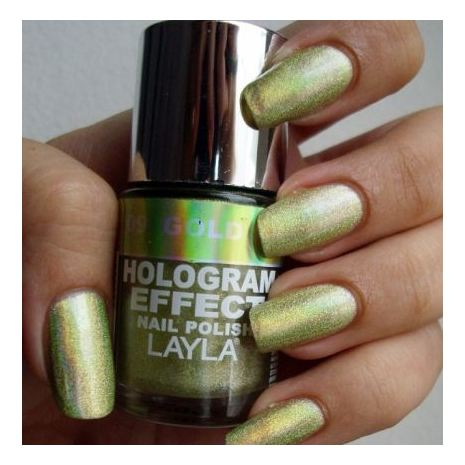 Layla Hologram effect Nail Polish Gold Idol 009