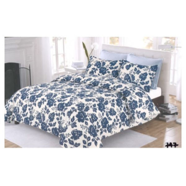 AIWA AI-747-9/144TC King Comforter Set 240x260cm Polycotton Print Dark Blue