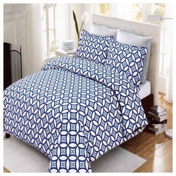 AIWA AI-661-2/144TC Qween Flat Sheet 220x248cm Polycotton Print Blue